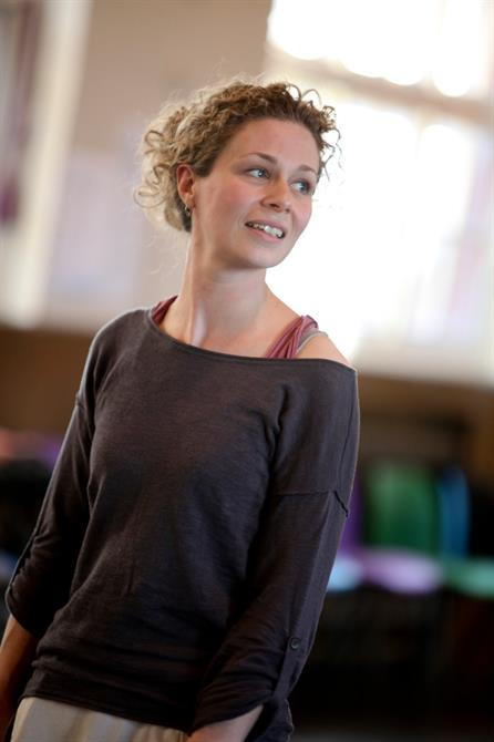 Catherine Hamilton in rehearsal for Measure for Measure.