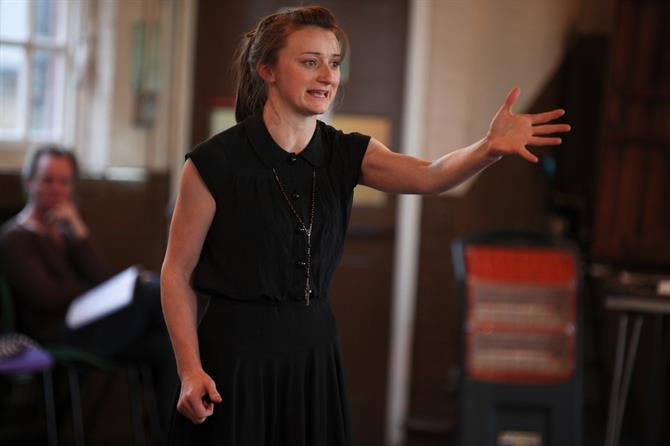 Jodie McNee in rehearsal for Measure for Measure.