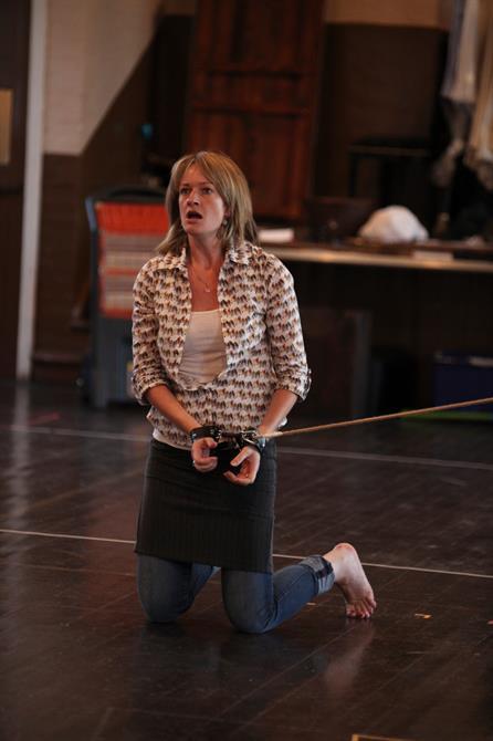 Annette McLaughlin in rehearsal for Measure for Measure.
