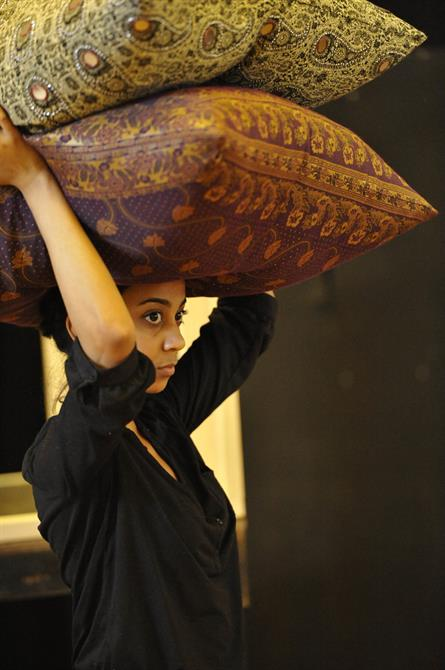 Anjan Vasan as the Maid in rehearsal for Much Ado About Nothing.