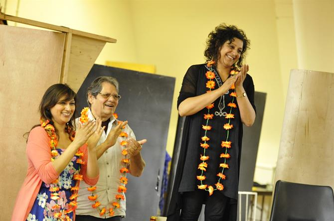 Chetna Pandya as Margret, Ernest Ignatius as Antonio and Meera Syal as Beatrice in rehearsal for Much Ado About Nothing