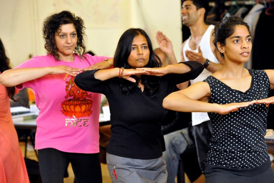Meera Syal as Beatrice, Bharti Patel as Verges and Amara Karan as Hero in rehearsal for Much Ado About Nothing.