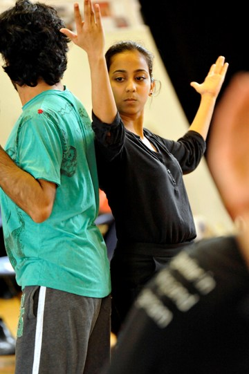 Anjana Vasan as the Maid in rehearsal for Much Ado About Nothing.