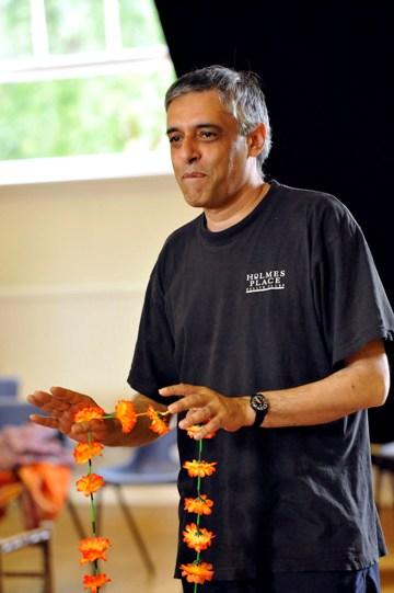 Paul Bhattacharjee as Benedick in rehearsal for Much Ado About Nothing.