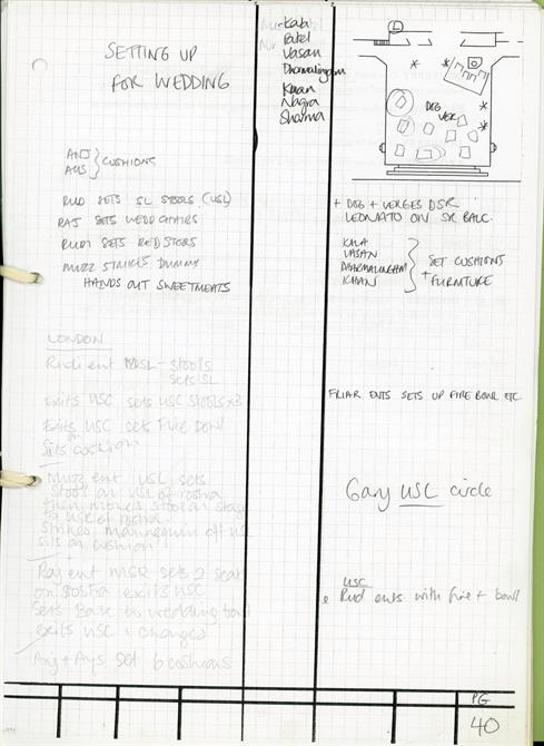 Prompt book page for Much Ado About Nothing 2012