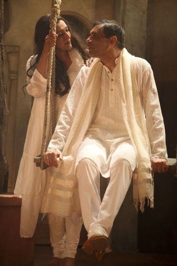 Meera Syal as Beatrice and Paul Bhattacharjee as Benedick in Much Ado About Nothing