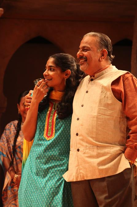 Amara Karan as Hero and Madhav Sharma as Leonato in Much Ado About Nothing.