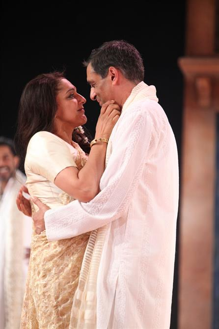 Meera Syal as Beatrice and Paul Bhattacharjee as Benedick in Much Ado About Nothing.