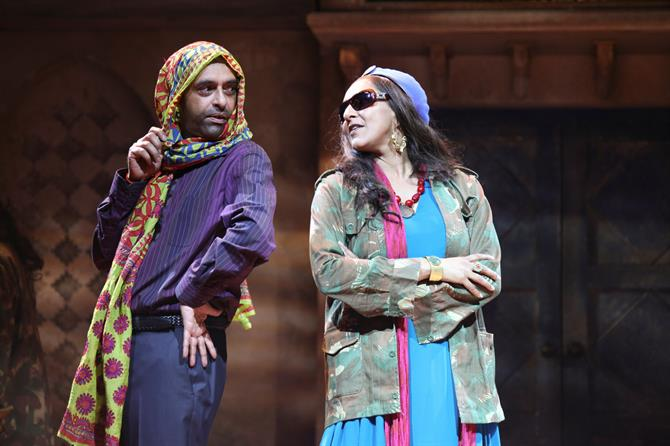 Paul Bhattacharjee as Benedick and Meera Syal as Beatrice in Much Ado About Nothing.