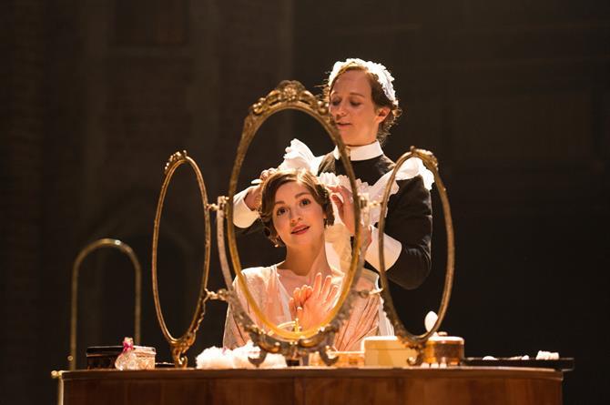 Flora Spencer-Longhurst as Hero and Emma Manton as Margaret in Love's Labour's Won.