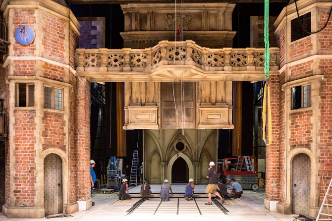 The set inspired by the stately home is constructed by men in hard hats
