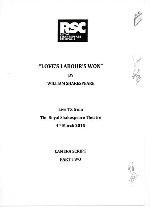 The front page of the camera script for Love's Labour's Won