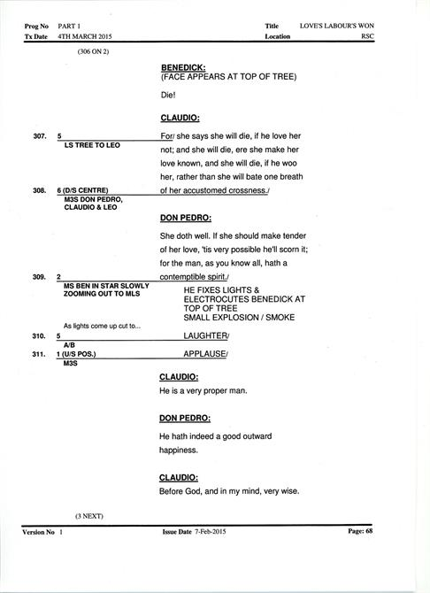 A page from the camera script, showing the camera cues alongside the main script