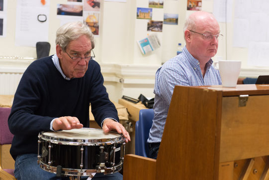 John Woolf and Nigel Hess in rehearsals
