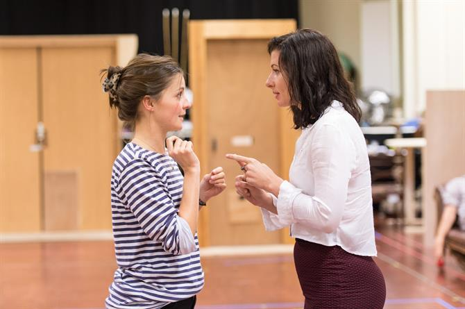 Flora Spencer-Longhurst and Leah Whitaker in rehearsal for Love's Labour's Won.