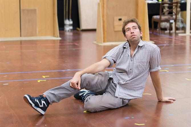 Edward Bennett in rehearsal for Love's Labour's Won.