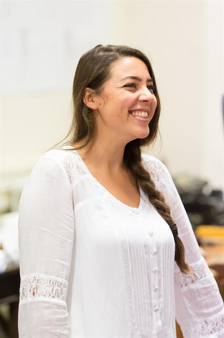 Sophie Khan-Levy in rehearsal for Love's Labour's Won.