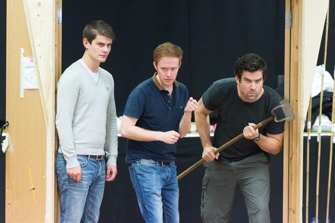Oliver Lynes, Peter McGovern and Peter Basham in rehearsal for Love's Labour's Won.