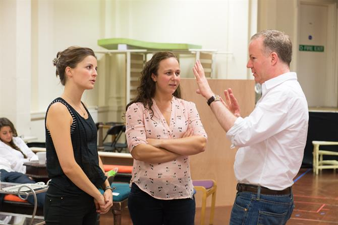 Flora Spencer-Longhurst, Emma Manton and Christopher Luscombe in rehearsal for Love's Labour's Won.