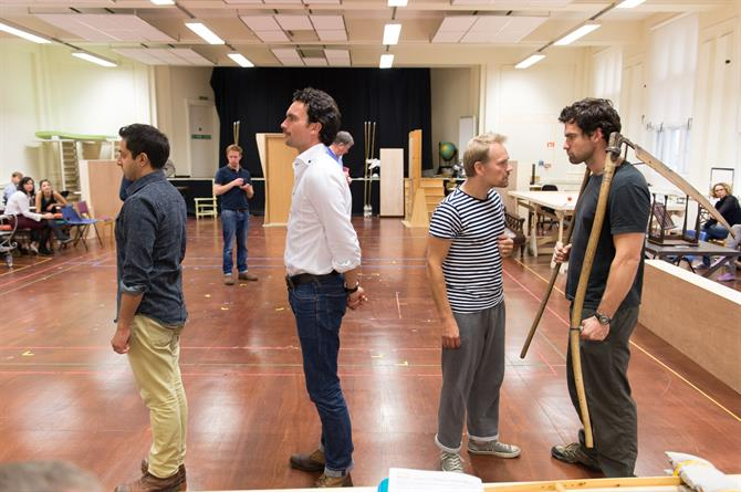 Chris Nayak, William Belchambers, Nick Haverson and Peter Basham in rehearsal for Love's Labour's Won.
