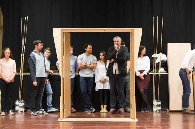 The Company of Love's Labour's Won in rehearsal.