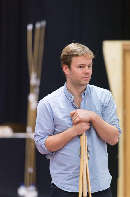 Sam Alexander in rehearsal for Love's Labour's Won.