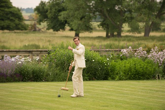 Edward Bennett playing croquet