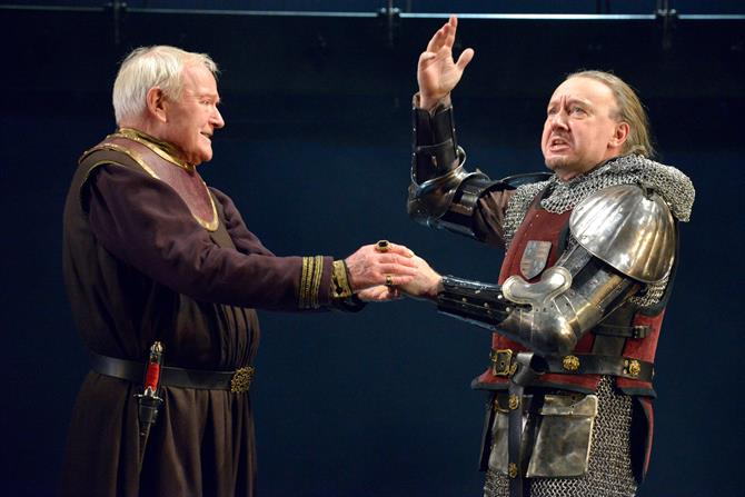 Julian Glover as John of Gaunt and Jasper Britton as Bolingbroke in Richard II. Photo by Keith Pattison