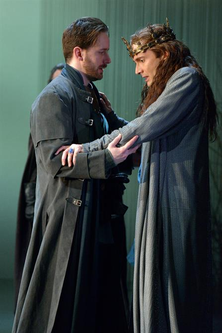 Sam Marks as Aumerle and David Tennant as Richard II in Richard II. Photo by Keith Pattison
