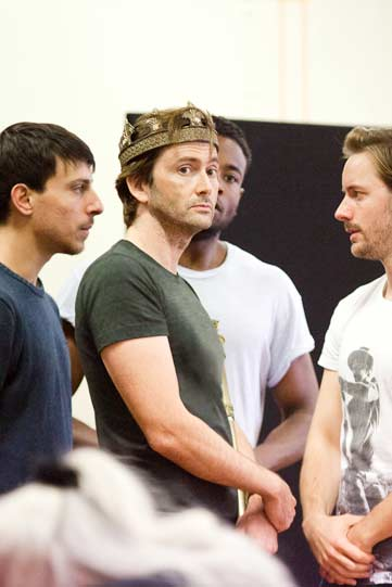 Jake Mann, David Tennant, Marcus Griffiths and Sam Marks in rehearsals for Richard II