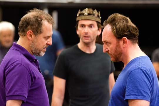 Nigel Lindsay, David Tennant and Antony Byrne in rehearsals for Richard II