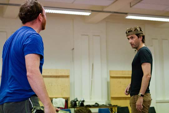 Antony Byrne and David Tennant in rehearsals for Richard II