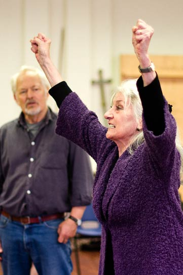 Michael Pennington and Jane Lapotaire in rehearsals for Richard II