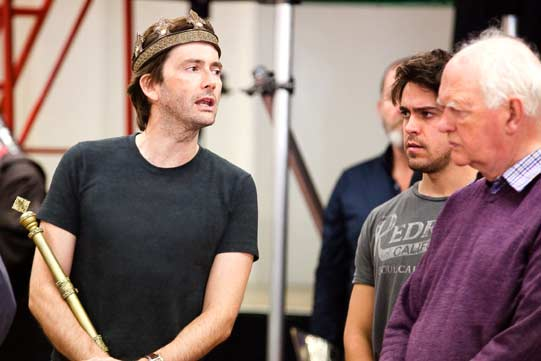 David Tennant, Oliver Rix and Oliver Ford Davies in rehearsals for Richard II