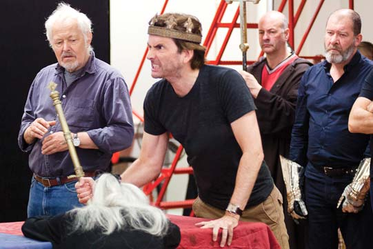Michael Pennington, David Tennant, Keith Osborn and Joshua Richards in rehearsals for Richard II