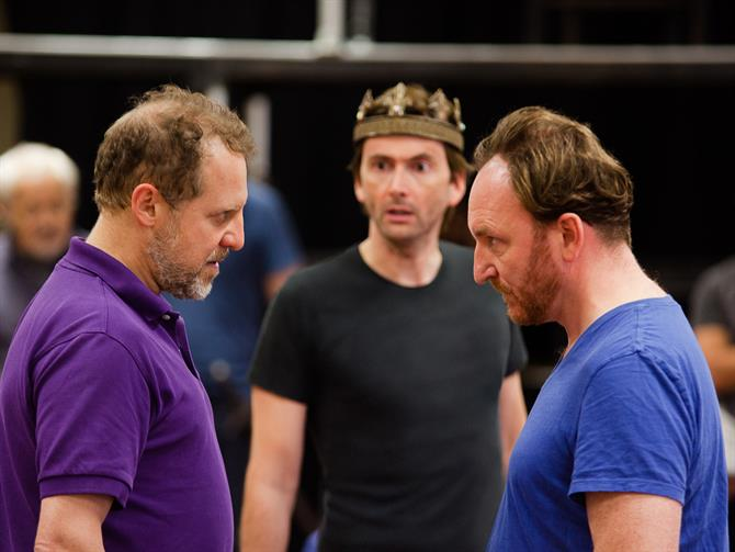 Nigel Lindsay, David Tennant and Antony Byrne in rehearsals for Richard II
