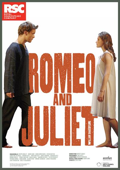 Theatrical poster for Romeo and Juliet 2010 showing modern-dressed young man on left of red play title and young woman on right , facing each other