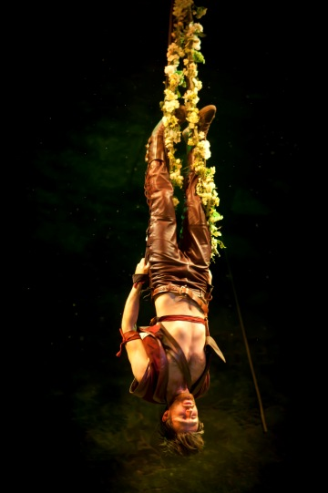 A man hangs upside down by his feet from a garland of flowers