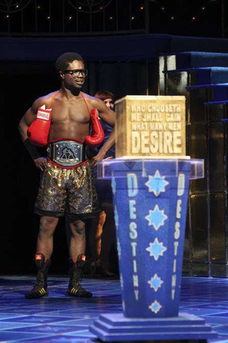The Prince of Morocco dressed as a boxer in The Merchant of Venice 2011