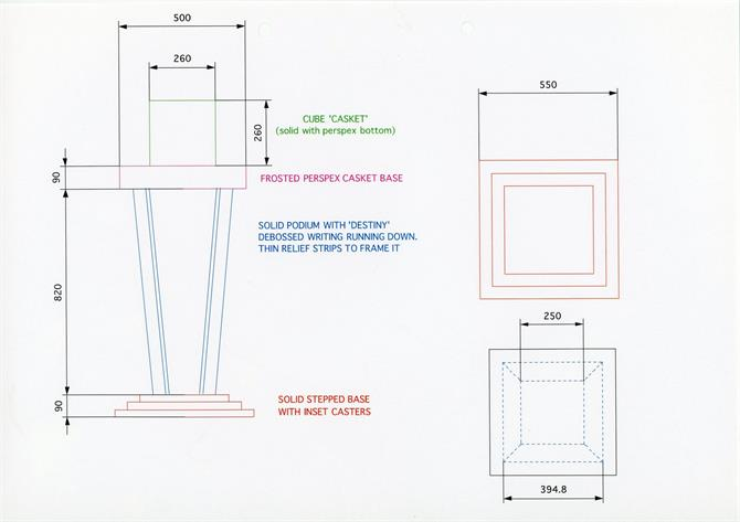 A design for the casket used in the show.