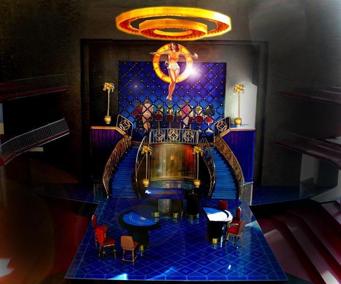 Vivid blue model box for the casino set of The Merchant of Venice.