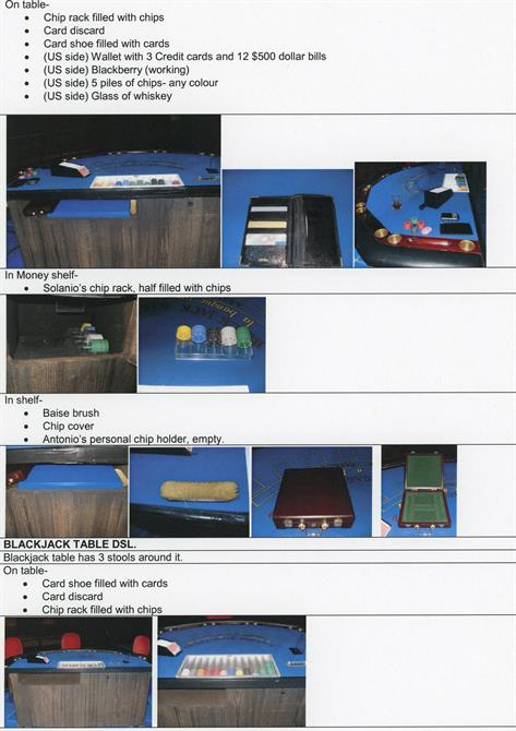 Photo list of gambling props for the casino set, including a blackjack table and chip rack.