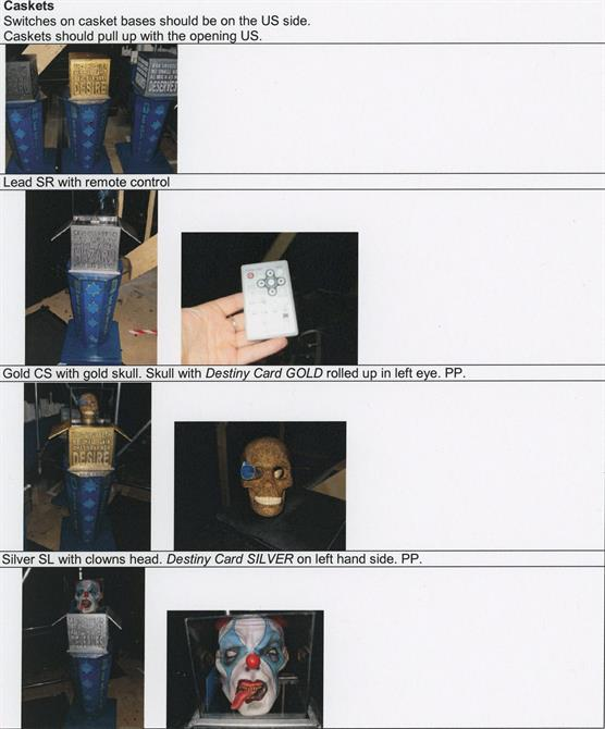 A photo list of the casket props needed, featuring a gold skull and clown's head.