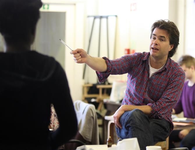 Director Rupert Goold gives instructions in rehearsals for The Merchant of Venice.