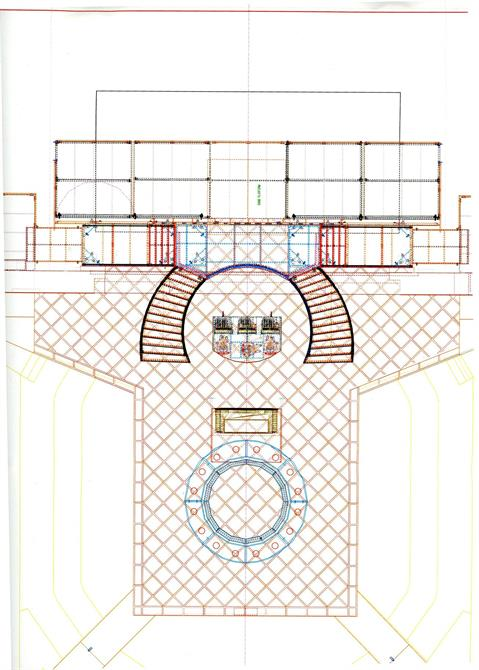 Design drawing of the casino set for The Merchant of Venice.