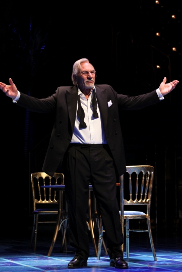 Production image of Shylock (Patrick Stewart) in a tuxedo.