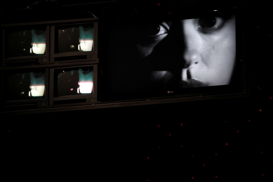 Production image of 5 CCTV screens (4 small and 1 large).