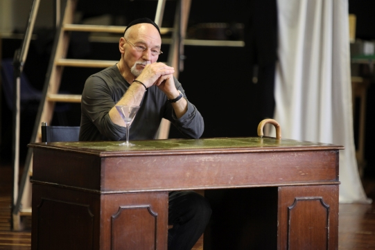 Rehearsal image of Patrick Stewart as Shylock in The Merchant of Venice.