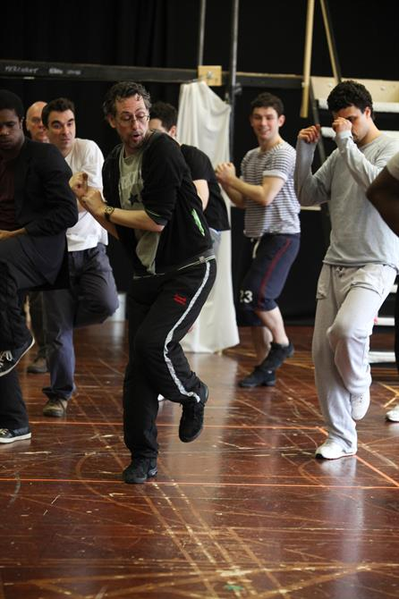 The cast dancing during rehearsals.