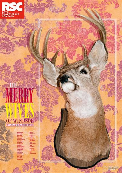 Poster for The Merry Wives of Windsor 2012 showing the head of a deer mounted on floral wallpaper